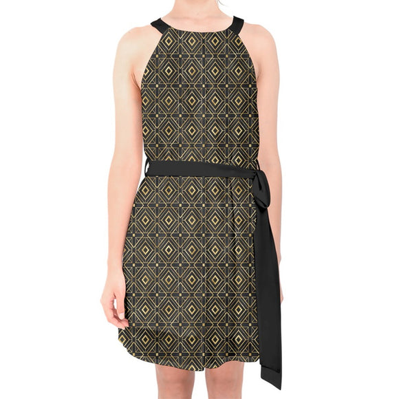 Gold and Black Geometric Pattern Belted Chiffon Shift Dress