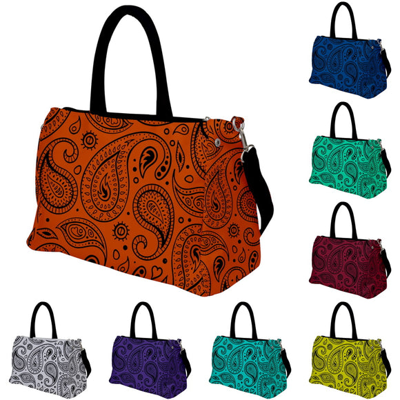 Black Paisley Pattern Travel Bag - Various Colors