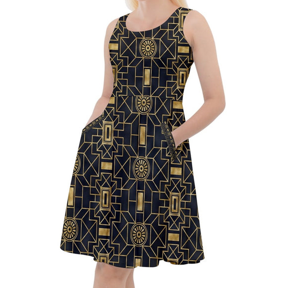 Bold Black and Gold Geometric Pattern Knee Length Skater Dress
