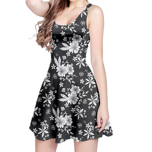 White and Black Floral Sleeveless Dress
