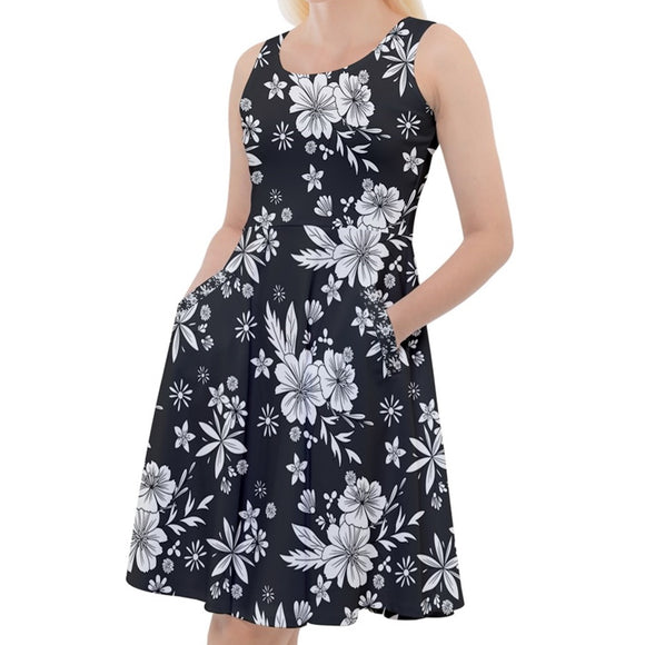 White and Black Floral Knee Length Skater Dress
