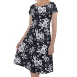 White and Black Floral Short Sleeve Dress