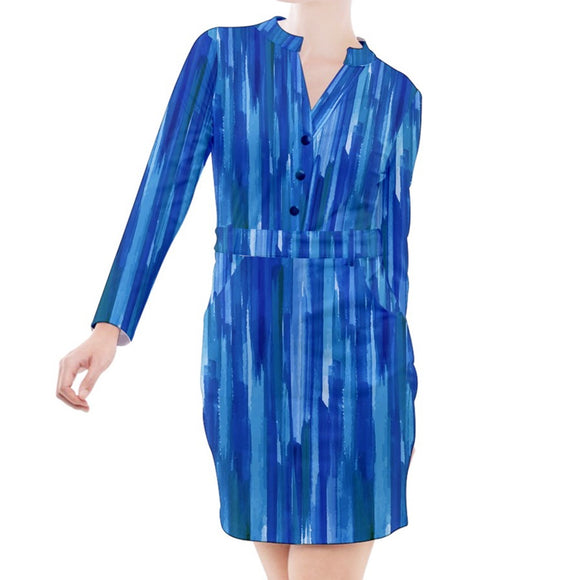 Blue Brush Strokes Long Sleeve Button Top Sheath Dress
