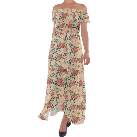 Roses Pattern Yellow Off Shoulder Open Front Chiffon Dress