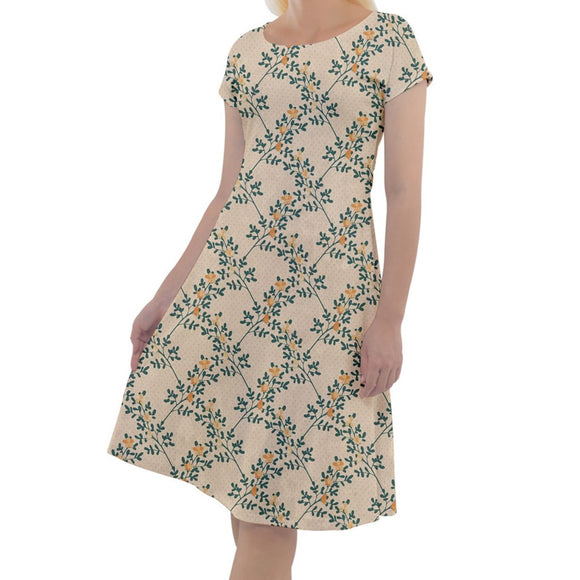 Yellow Floral Pattern Short Sleeve Dress