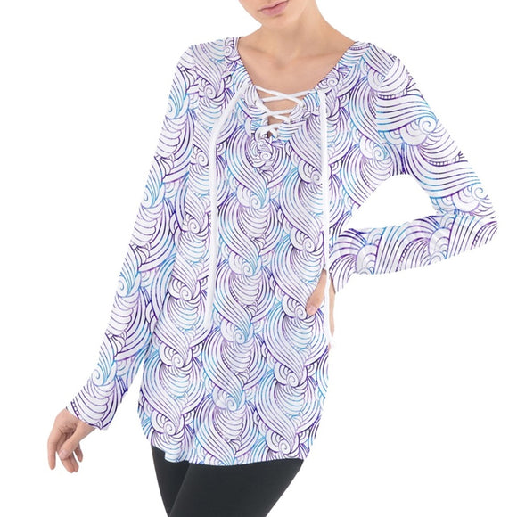 Blue and Purple Wave Pattern Tie Up Tee