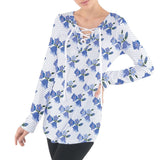 Blue Flowers and Polka Dots Pattern Tie Up Tee
