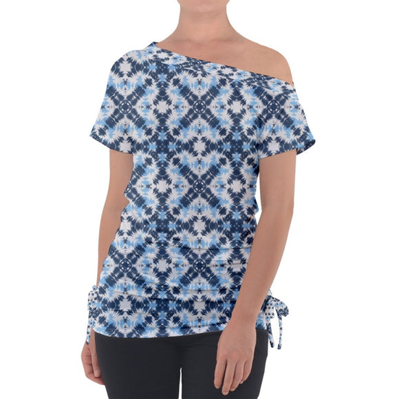 Blue Gray Pastel Pattern Off Shoulder Tie Up Tee