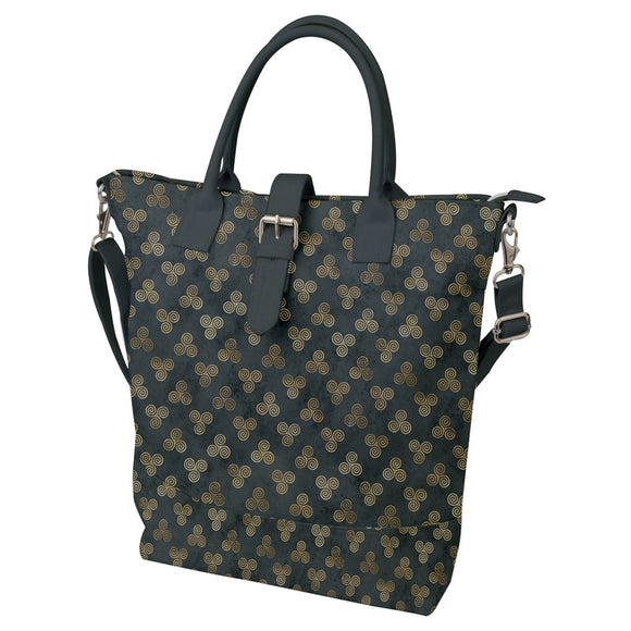 Triple Spiral Pattern Buckle Top Tote Bag