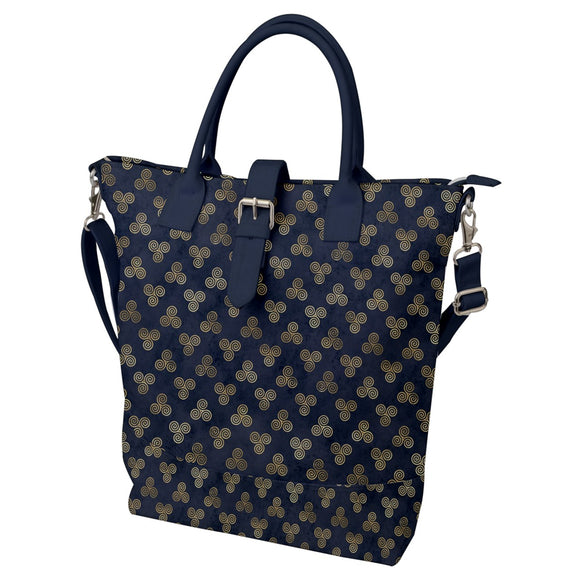 Triple Spiral Pattern Blue Buckle Top Tote Bag