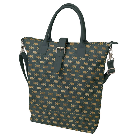 Triple Moon Pattern Green Buckle Top Tote Bag