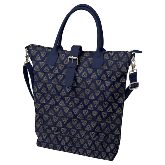 Triquetra Trinity Knot Blue Buckle Top Tote Bag