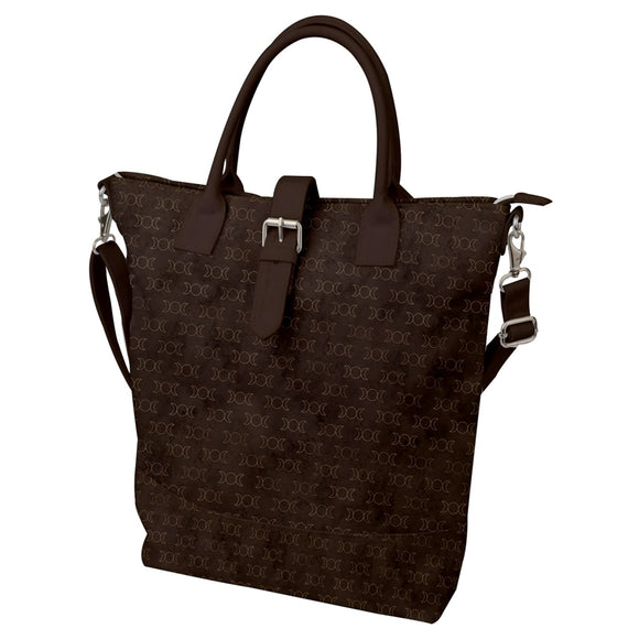 Triple Moon Pattern Buckle Top Tote Bag