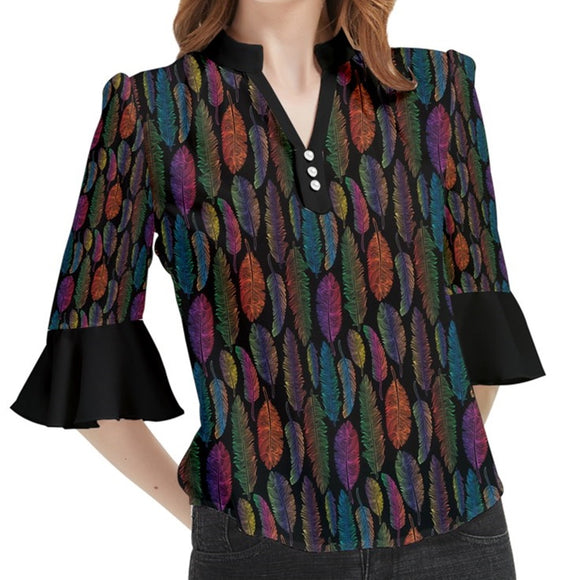 Feather Pattern Loose Horn Sleeve Chiffon Blouse