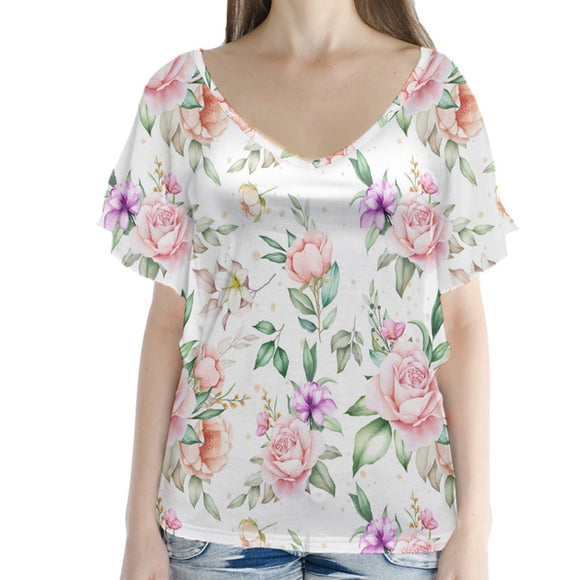 Roses Pattern V-Neck Flutter Sleeve Top