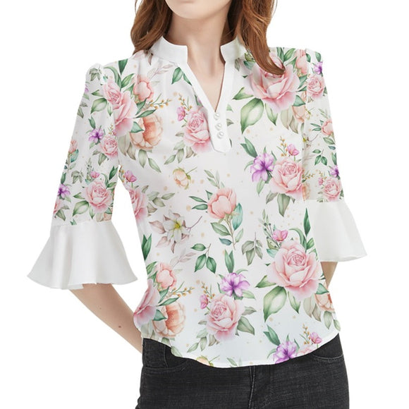 Roses Pattern Loose Horn Sleeve Chiffon Blouse