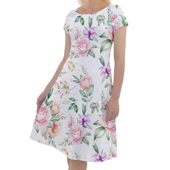Roses Pattern Classic Short Sleeve Dress