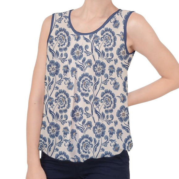 Blue Classic Floral Pattern Bubble Hem Chiffon Tank Top