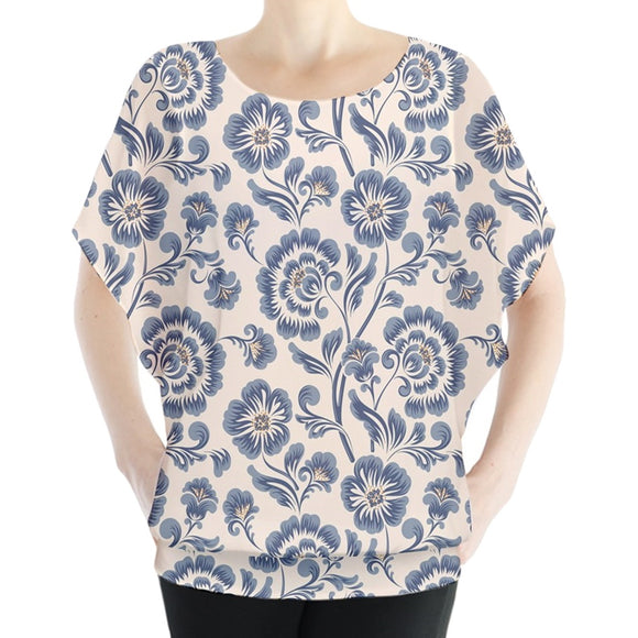 Blue Classical Floral Pattern Batwing Chiffon Top