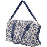 Blue Classical Floral Pattern Canvas Crossbody Bag