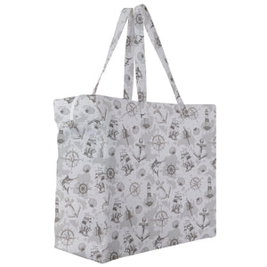 Vintage Nautical Pattern Canvas Travel Tote
