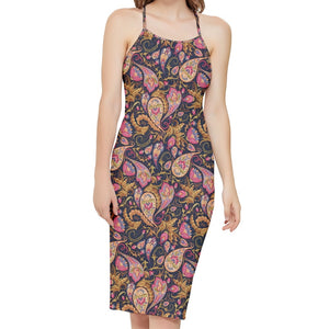 Paisley Pattern Cross Back Sheath Dress