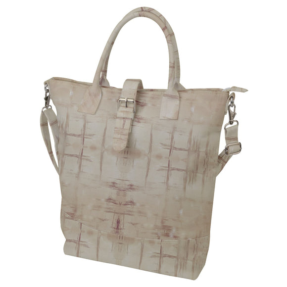 Beige Grunge Pattern Buckle Top Tote Bag