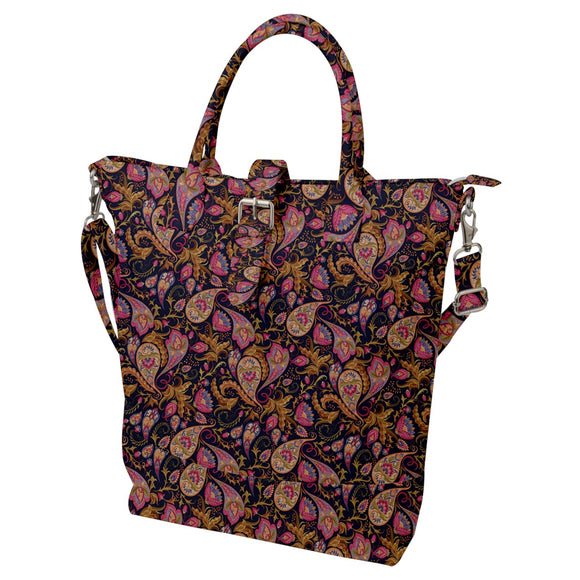 Paisley Pattern Buckle Top Tote Bag