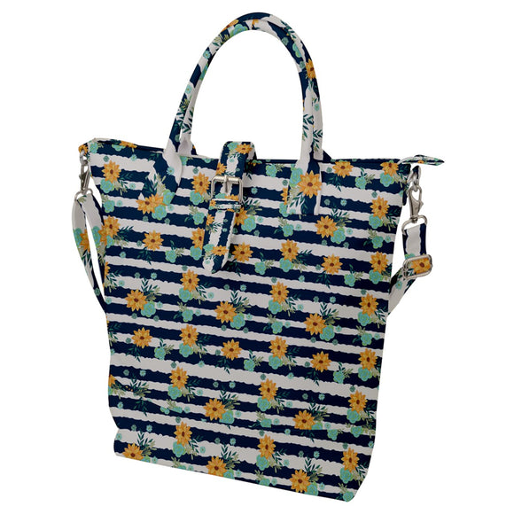 Flowers and Stripes Pattern Buckle Top Tote Bag