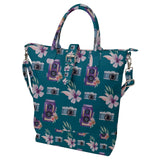 Camera and Flowers Pattern Buckle Top Tote Bag
