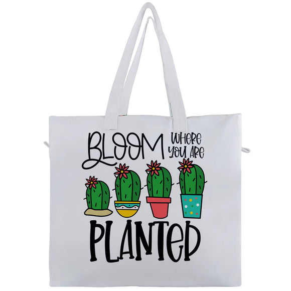 Bloom Where You Are Planted Cactus Travel Tote