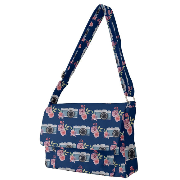 Camera and Flowers Pattern Messenger Bag