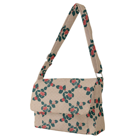 Roses Pattern Yellow Messenger Bag