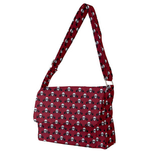 Skull Pattern Red Messenger Bag