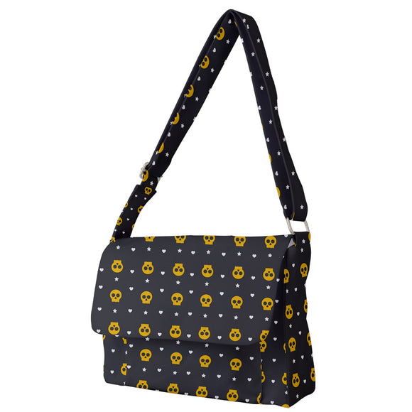 Skulls, Hearts, and Stars Pattern Messenger Bag