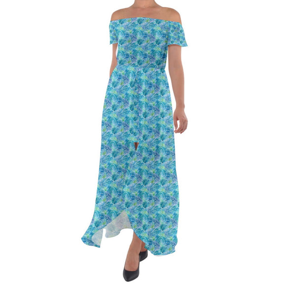 Blue and Green Seashells Pattern Off Shoulder Open Front Chiffon Dress