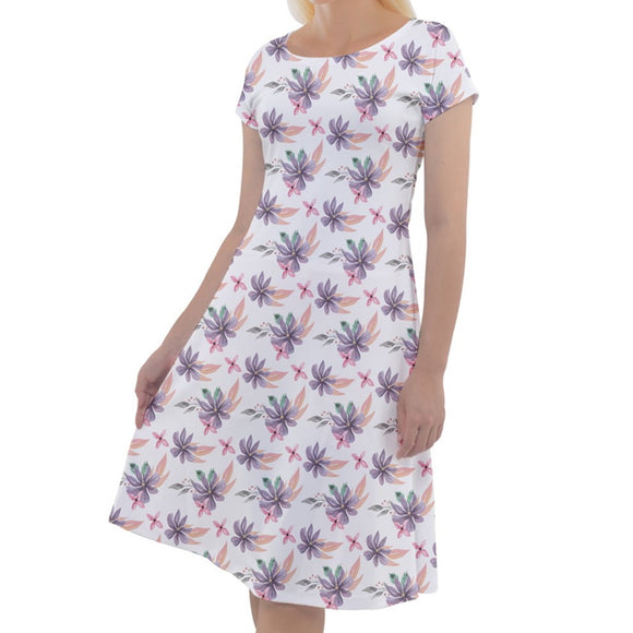 Floral Pattern White Short Sleeve Dress