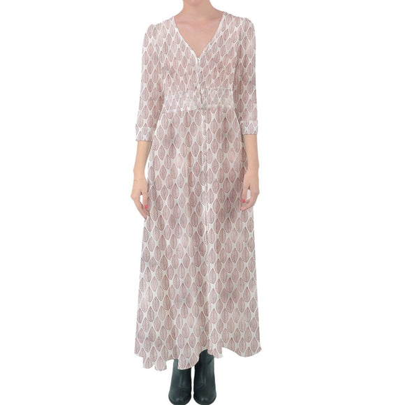 Pink Leaves Pattern Button Up Maxi Dress