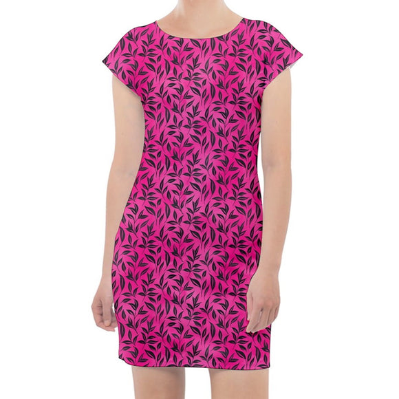 Pink and Black Leaf Pattern Cap Sleeve Bodycon Dress