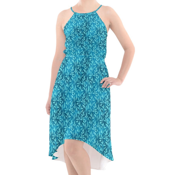 Turquoise Leafy Pattern High-Low Chiffon Dress