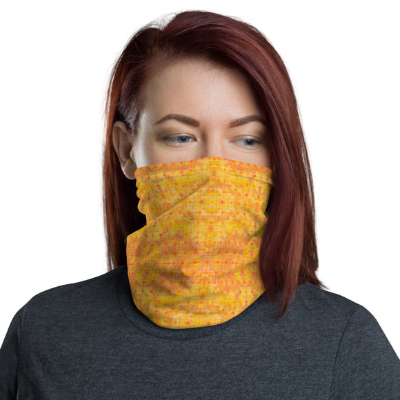 Orange and Yellow Grunge Pattern Neck Gaiter