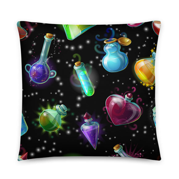 Potion Bottles Throw Pillow Case + Optional Pillow