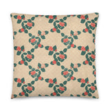 Roses Pattern Yellow Throw Pillow Case + Optional Pillow