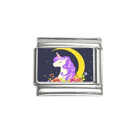 Unicorn Crescent Moon Italian Charm (9mm)