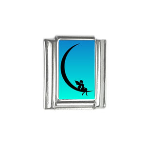 Fairy on Crescent Moon Italian Charm (9mm)