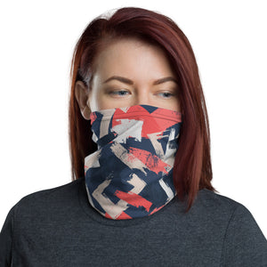 Red and Blue Abstract Pattern Neck Gaiter