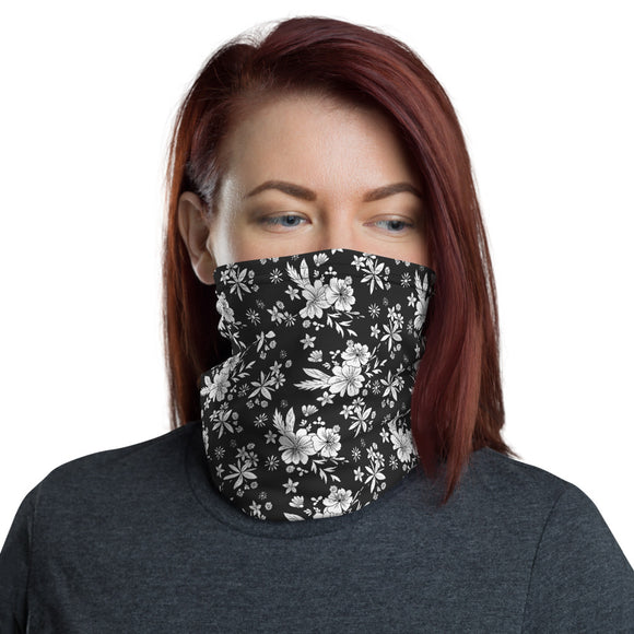 White and Black Floral Neck Gaiter