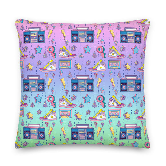 90s Retro Pattern Throw Pillow Case + Optional Pillow