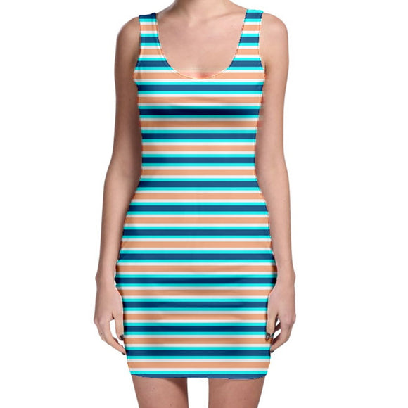 Blue White and Orange Striped Bodycon Dress