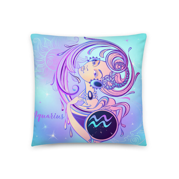 Zodiac Sun Sign Watercolor Goddess Throw Pillow Case + Optional Pillow